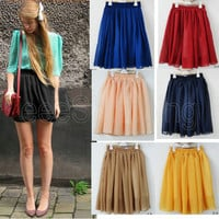 Hot Sale Retro high waist pleated double layer chiffon Short Mini Skirt Dress