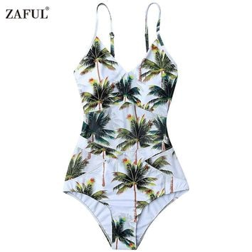 ZAFUL One Piece Bikini Swimwear Women Plant Elastic Spaghetti Strap Coco Palm Tree Swimsuit Bathing Suits Size S/M/L/XL (White)