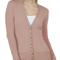 LE3NO Womens Lightweight Fitted Long Sleeve Knit Cardigan (CLEARANCE)