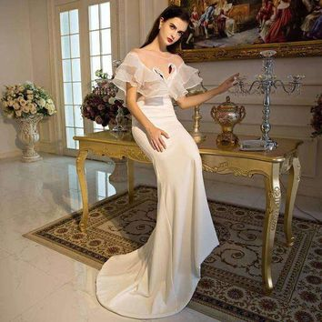 VONE05F8 100%real white ruffled sexy see through swan embroidery major beading long dress mermaid dress gown royal dress Victoria dress