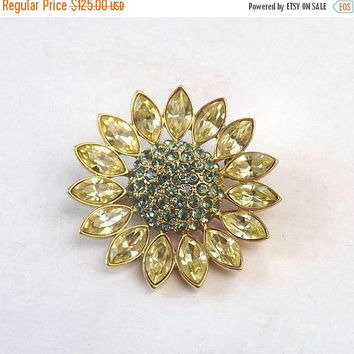 ON SALE - Signed Givenchy Flower Brooch, Vintage 1.75 Inch Goldtone Pin with Aqua & Pale Yellow Rhinestones