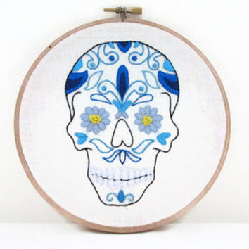 Sugar Skull embroidery hoop , blue Mexican day of the dead skull modern hand embroidery , 6 inch wall hoop art decor uk seller