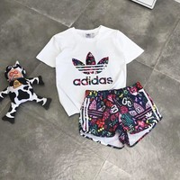 """Adidas"" Women Fashion Casual Clover Flowers Letter Print Short Sleeve Shorts Sportswear Set Two-Piece"