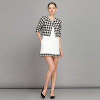Houndstooth Crop Top Cardigan With Spaghetti Strap Mini Dress