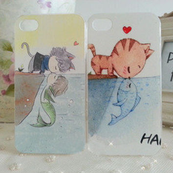 Bestgoods — Cute Cartoon Cat Kiss Fish Love Story Hard Cover Case For Iphone 4/4s/5