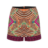 Retro Folk Style Shorts With Floral Print In Orange