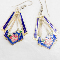 Vintage Cloisonné Drop Earrings