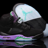 Air Jordan 5 Retro AJ5 Black Purple Women Basketball Shoes