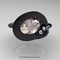 Art Nouveau 14K Black Gold 1.0 Ct Oval Morganite Diamond Nature Inspired Engagement Ring R296-14KBGDMO