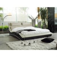 King Size Modern Black Faux Leather Platform Bed With Headboard