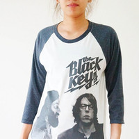 Size S -- THE BLACK KEYS TShirts Indie Rock TShirts Baseball Tee Jersey Raglan Long Sleeve Unisex Shirts Women Shirts