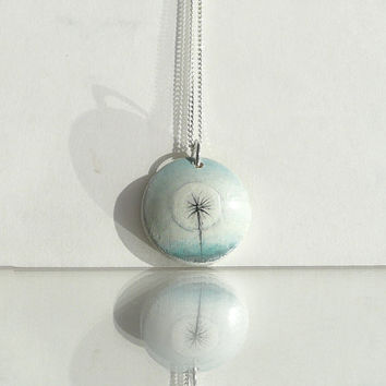Dandelion Art - Small Watercolor Painting Necklace - Dandelion  - Make a Wish -  Chic Hand Painted Jewelry