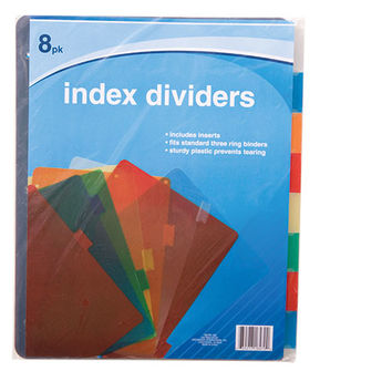 Bulk Colorful Plastic Index Dividers, 8-ct. Packs at DollarTree.com