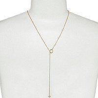 Nadri Circle and Cross Delicate Necklace - Gold