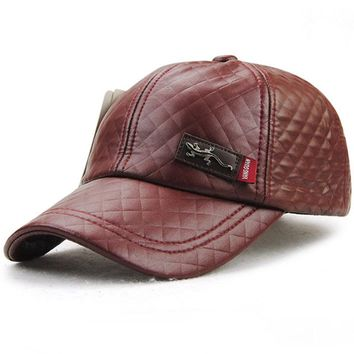 Leather Hat Men Women Fashion Faux Unisex Snapback Casquette Gorras Baseball Cap