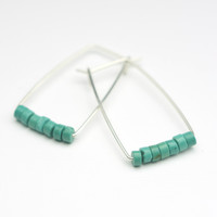 Perch Earrings :  Turquoise Heishi