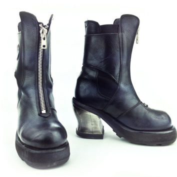 90 s destroy industrial black leather metal heel