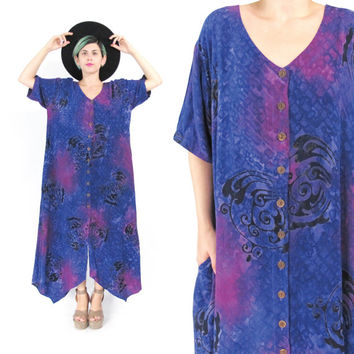 90s Hippie Boho Maxi Dress Caftan Batik Sun Dress Purple Button Down Dress Abstract Print Short Sleeve Dress Summer Handkerchief Hem (L/XL)