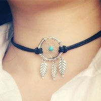 Indian Feather Dream Catcher Necklace Chocker