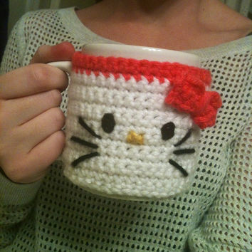 Crochet Hello Kitty Coffee Mug Cozy