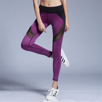 Mesh Patchwork Breathable Fitness Leggings Quick Dry Elastic Yoga Pants Women Cool Sport  Leggings Workout Running Tights