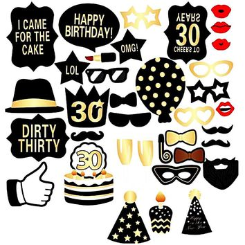 30th Birthday Party Deluxe Photo Booth Props Set