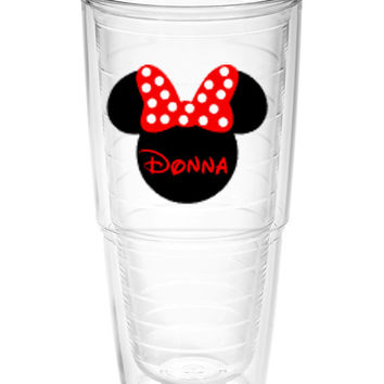 Minnie Mouse silhouette with name Tumbler ~ Perfect gift for Disney lover ~ personalized Tervis cup 24oz - Mother's day gift - cruise cup