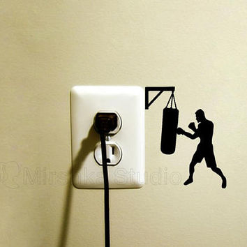 Boxer Light Switch Fabric Sticker - Sports Decals - Boxing Teen Room Decor - Boxing Gift - Vinyl Laptop Decal - Boxing Gloves iPad Sticker