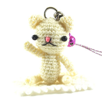 Mini Ivory Cat Amigurumi Crochet Doll Cell phone Charm (+violet bell ) with Black Beads Eyes and light pink nose