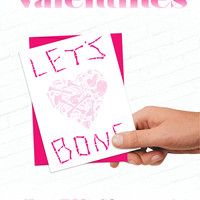 Funny Valentines Day Card, Sexy Valentine, Illustrated Greeting Card, Weird Greeting Card, Human Bone Heart, Love Cards, Strange Valentine