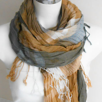 Men's scarves, Striped men's scarf, Organic linen, Mustard gray ivory scarf, Striped scarf, For men gifts, Men scarves, Men's striped scarf