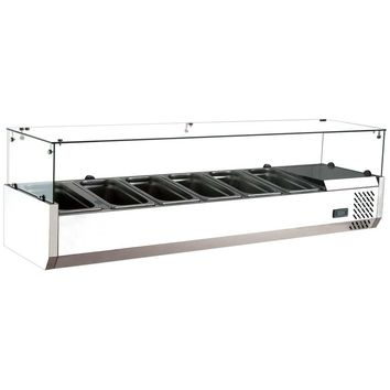 """Commercial Refrigerated Countertop Salad Bar Topping Rail with Sneezeguard 59"""""""