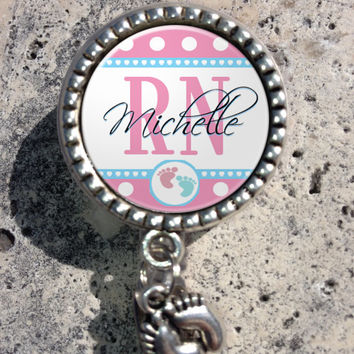 Personalized Rn Retractable Id Badge Reel with Charm, Badge Id Reel, Nurse Badge Reel, Bottlecap Badge Reel, Lpn, Np, Nicu, Labor Delivery