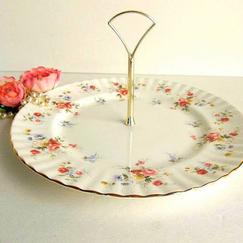 Vintage large Royal Vale Bone China England cake cookie cupcake stand single tier handle plate lovely for teatime parties gift floral roses