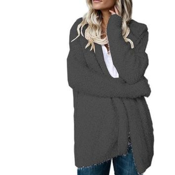 Winter Charcoal/Gray Long Oversized Fuzzy Cozy Fluffy Hooded Jacket
