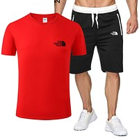 The North Face Fashion New Letter Print Sports Leisure Top And Pants Two Piece Suit Red