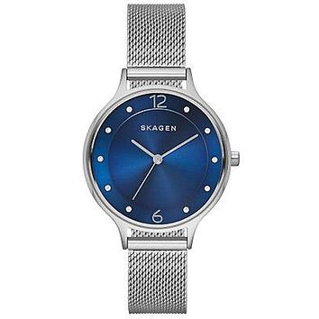 Skagen Womens Anita Watch - Blue Dial - Stainless Steel - Mesh Bracelet
