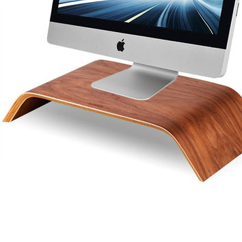 2016 Hot Sale Universal Fashion Desktop Computer Monitor Heighten Wooden Stand Dock Holder Display Bracket for iMac