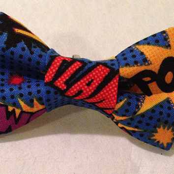 Superhero Bow tie, Superhero hair bow, comic book bow, novelty bow tie - infant-adult