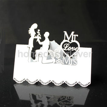 50pcs White Laser Cut Wedding Table Place Card Name