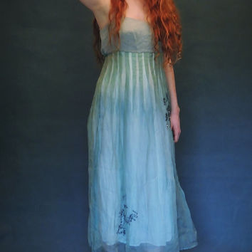 vintage silk cocktail gown /  sea blue green sheer organza and sequin mermaid dress / pride & prejudice regency inspired / Cotton bodice