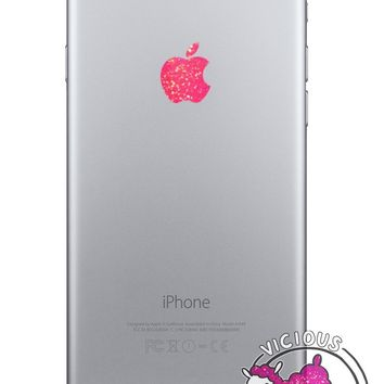 Pink Sparkles Color Changer for Apple iPhone 6 Logo Vinyl Sticker Decal Glitter Shiny