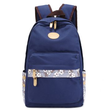 Stylish Navy Blue Ethnic Floral Canvas College Backpack Travel Bag Daypack