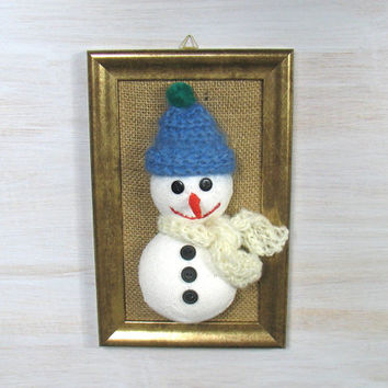 Snowman portrait, handmade, picture, soft sculpture, original, winter gift, OOAK