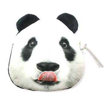 Realistic Panda Bear Face Shaped Soft Fabric Zipper Photo Print Coin Purse Make Up Bag from DOTOLY
