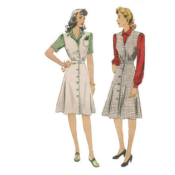 1940s Simplicity Pattern 4333 Bust 30 Jumper or Tennis Dress with Saddle Stitch Vintage Sewing Pattern