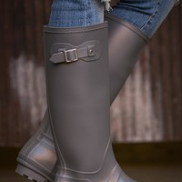 Pink Coconut Boutique | How Are You Rain Boot - Grey