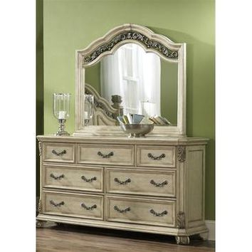 Liberty Furniture Messina Estates Dresser & Mirror in Antique Ivory Finish