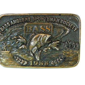 Angler Fishing Belt Buckle Brass Vintage Dated