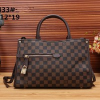 """Louis Vuitton"" Retro Fashion Multicolor Classic Tartan Logo Print Single Shoulder Messenger Bag Women Handbag"